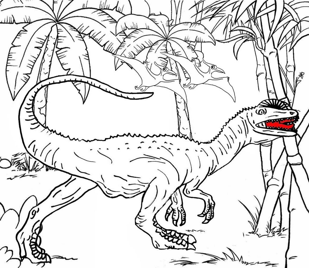 Dilophosaurus theropod dino coloring page for boys