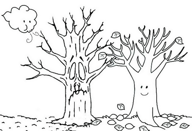Fall Tree Cartoon Coloring Page