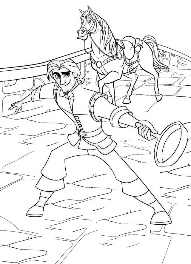 Flynn and Maximus Tangled Coloring Page
