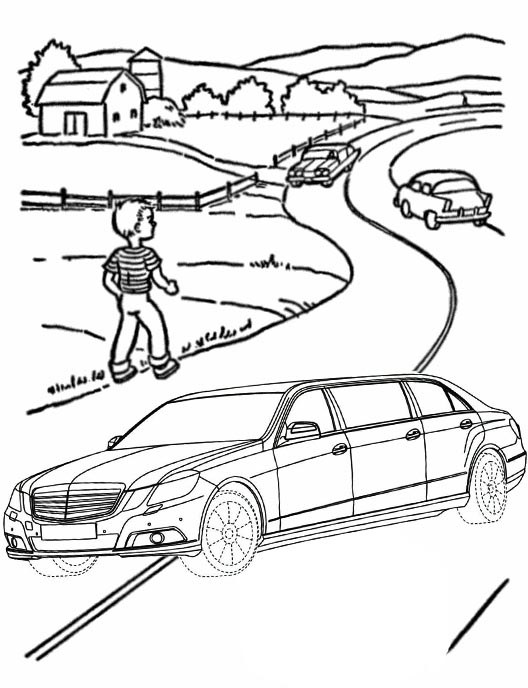 Luxury Limousine Car Coloring Page