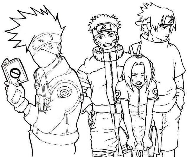 Naruto Sakura Kakashi Character Coloring Page