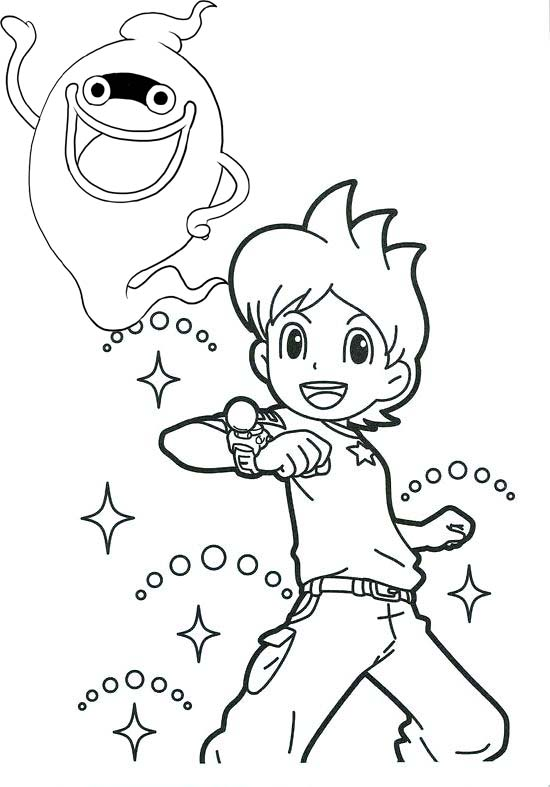 Nathan Adams and Whisper Yo Kai Watch Coloring Page