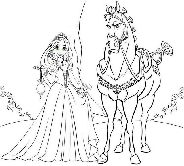Princess Rapunzel and Maximus Horse Coloring Page