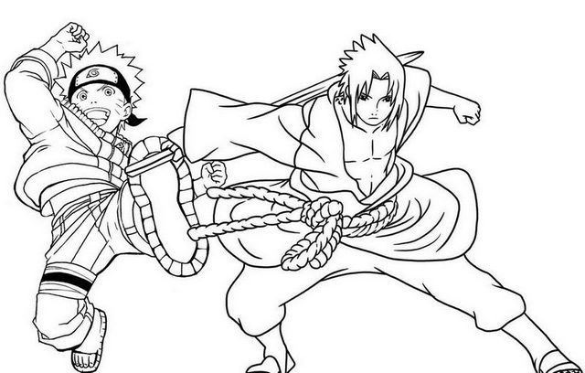 Sasuke Uchiha and Naruto Coloring Page