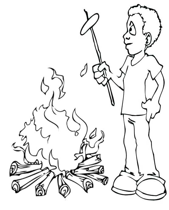 a boy cooking meals on campfire coloring pages