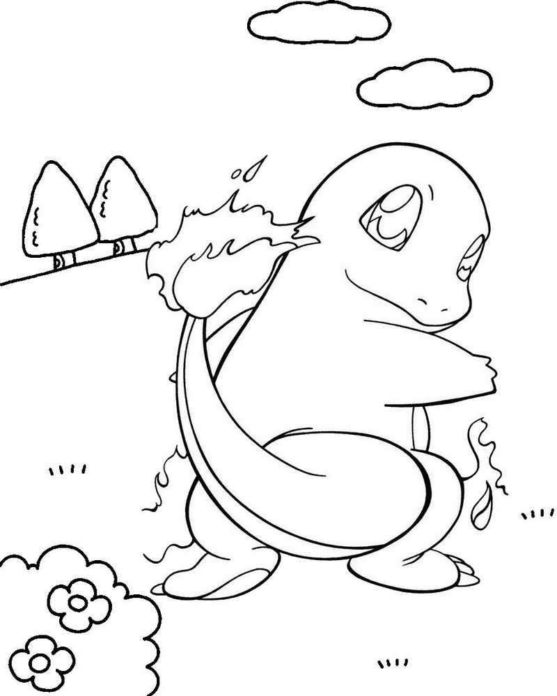 best charmander coloring page for children
