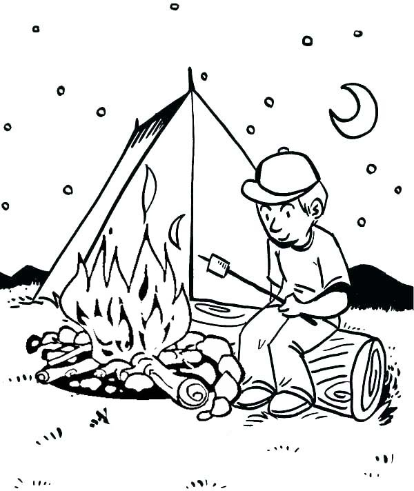 campfire in fornt of tent coloring pages