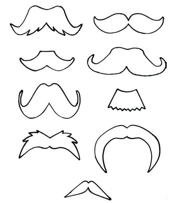 cool list of mustaches coloring pages printable