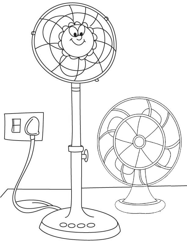 cute fan cartoon coloring page