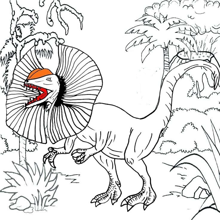 dilophosaurus habitat coloring pages