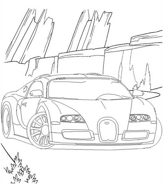 draw bugatti veyron cars coloring page to print