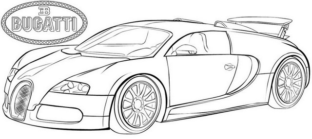 exclusive Bugatti Veyron fastest car coloring page