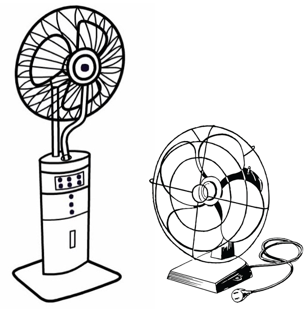 floor fan and desk fan coloring page