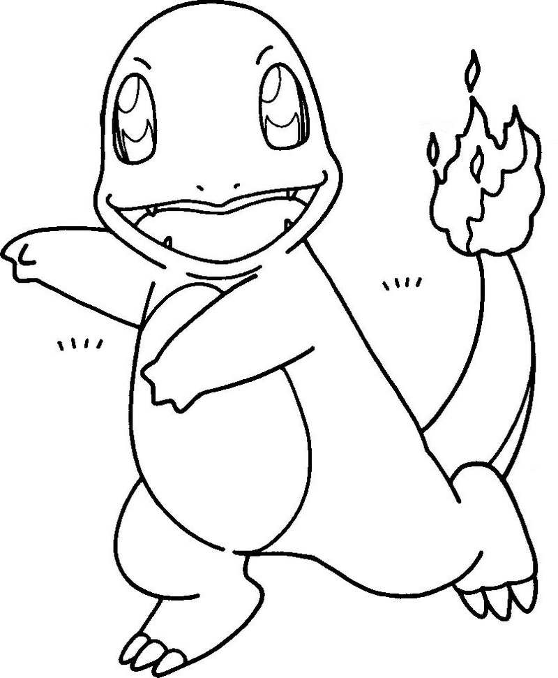 fun charmander hitokage coloring page
