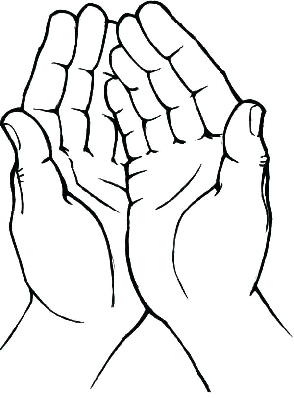 hands of prayer coloring page for kids