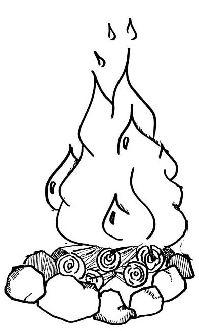hot campire coloring page for children