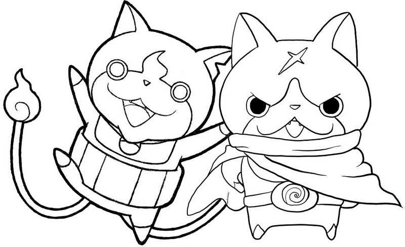 hovernyan and jibanyan coloring yo kai watch page