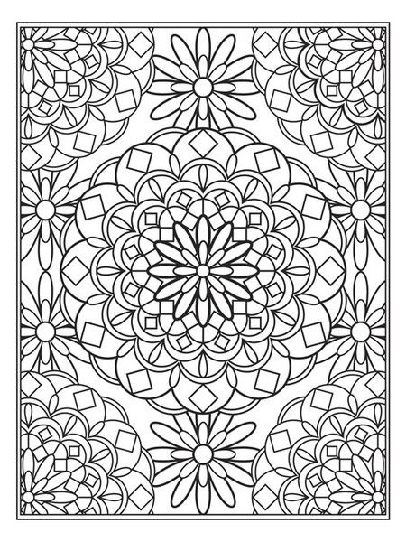 rug themed mandala flower design coloring pages