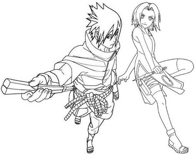 sakura haruno and sasuke uchiha coloring pages for naruto fans