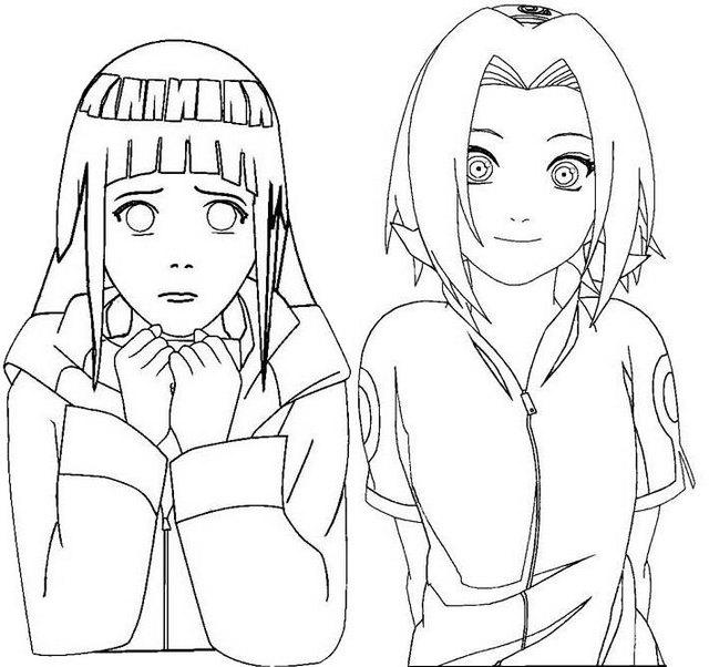 sakura haruno and hinata hyuga coloring page for naruto lovers