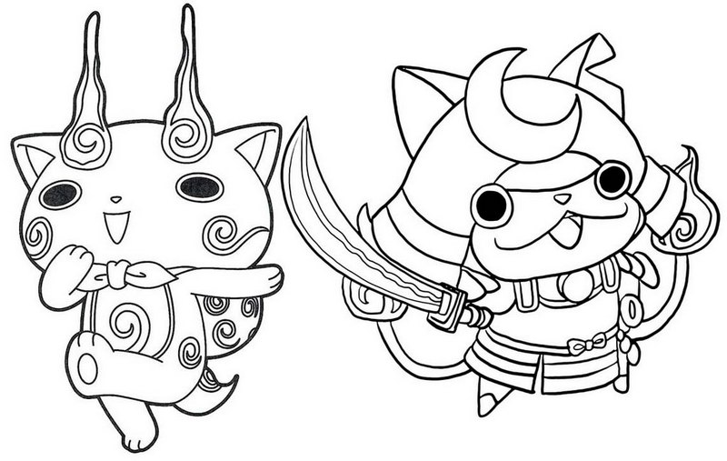shogunyan and komasan yo kai watch coloring page