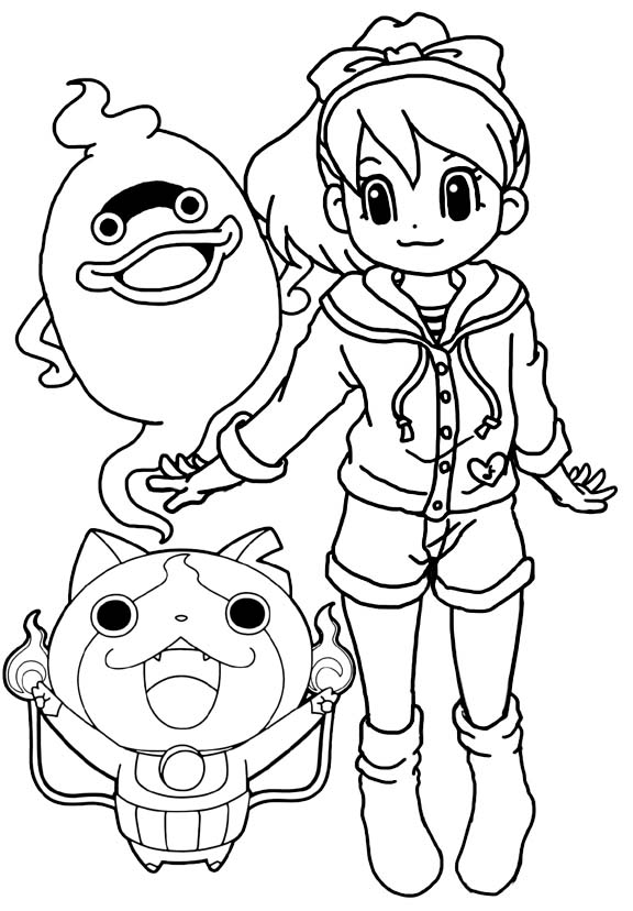 yo kai watch katie jibanyan and whisper coloring page