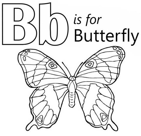 Alphabet B for butterfly coloring page for Kids Writing Learning