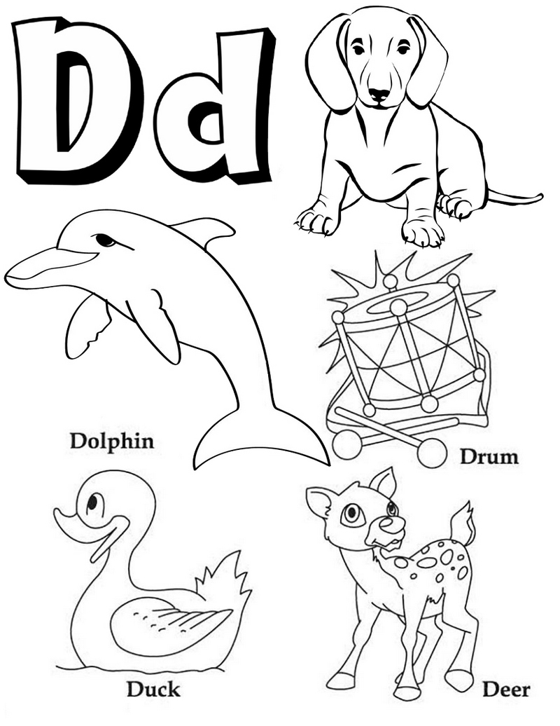 Alphabet D Coloring Page for Preschoolers