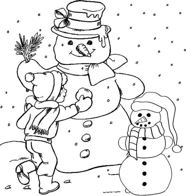 Building Snowman Coloring Page