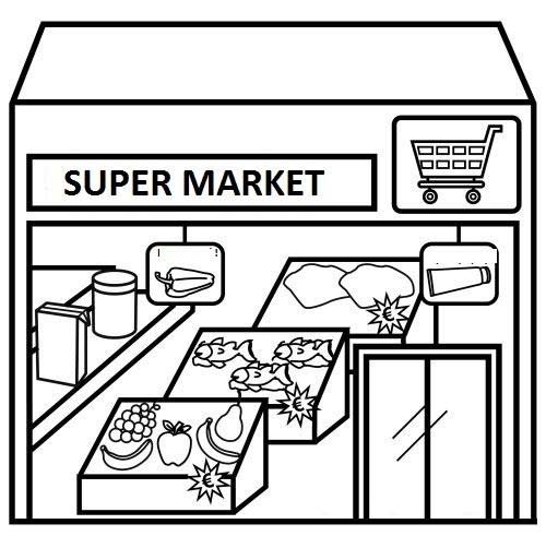 Cartoon Supermarket Coloring Page