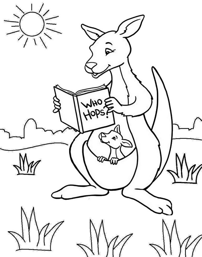 Cute Kangaroo Cartoon Coloring Pages