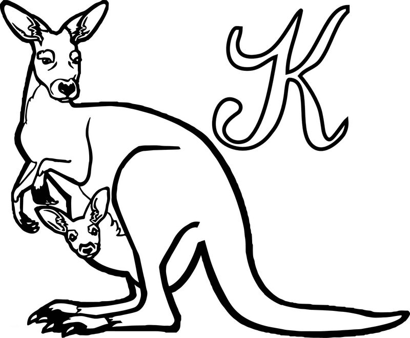 Detailed Letter K for kangaroo coloring page