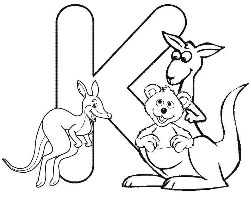 Fun Alphabet K for Kangaroo Coloring Page