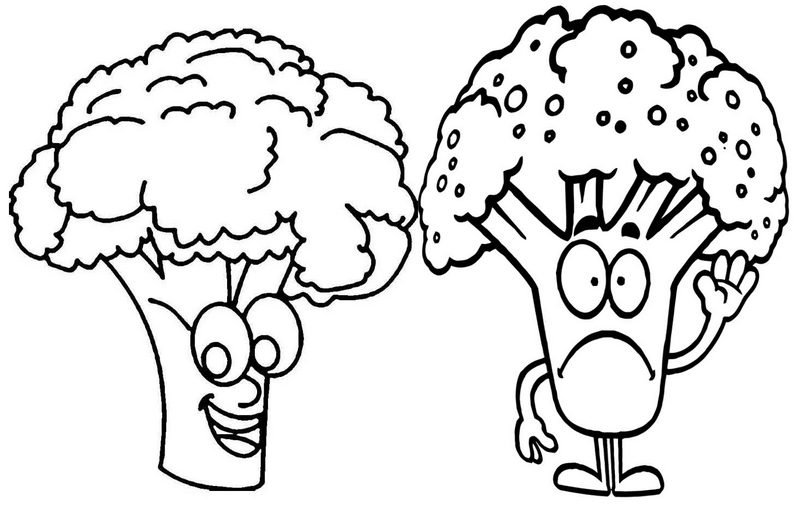 Fun Broccoli Coloring Vegetable Page