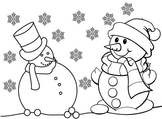 Funny Snowman Coloring Page Online