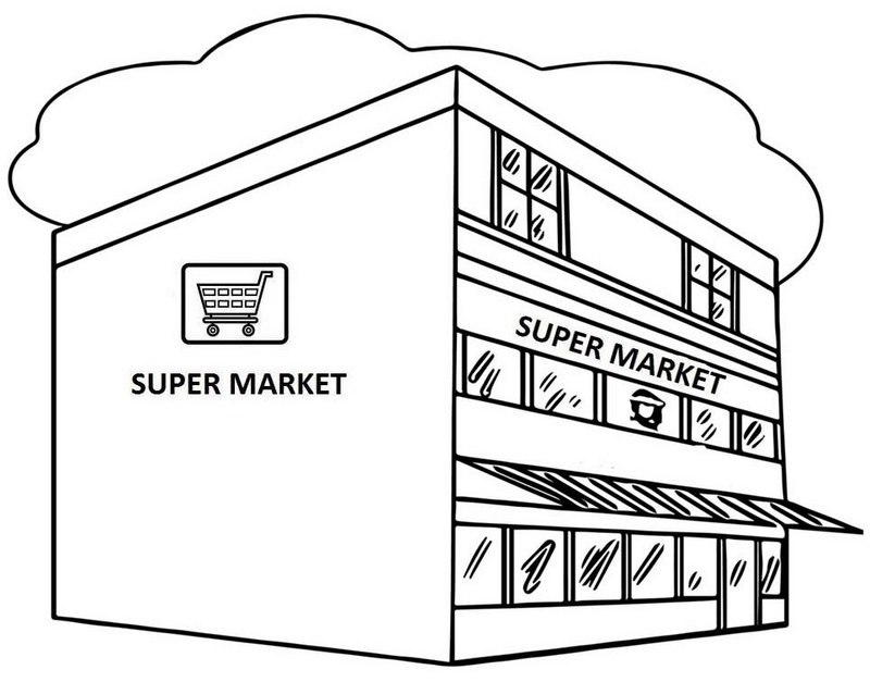Great Supermarket Coloring Page