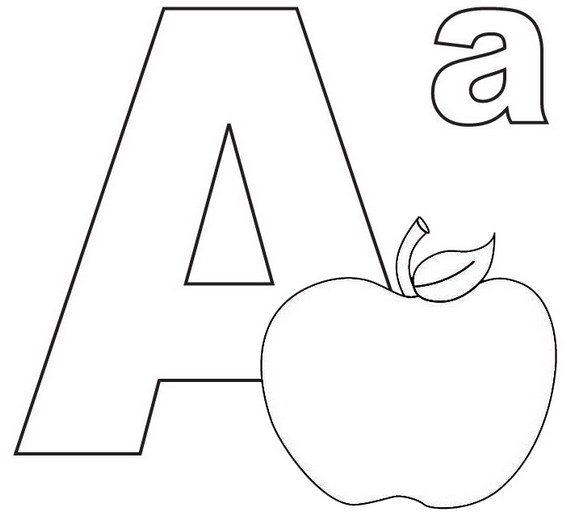 Letter A for Apple Coloring Page