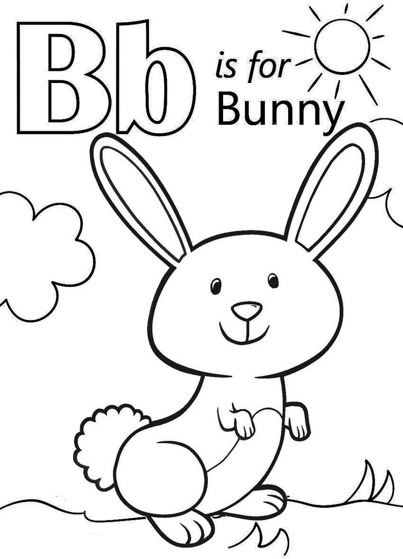 Letter B for Bunny Coloring Page