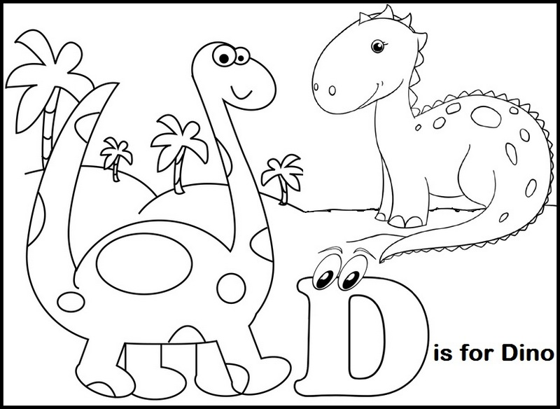 Letter D for Dinosaur Coloring Page
