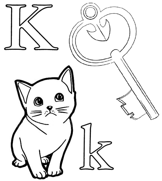 Letter K for Key and Kitten Coloring Page