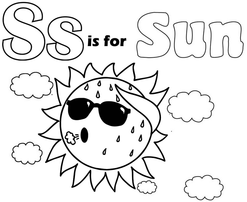 Letter S for Sun Coloring Pages