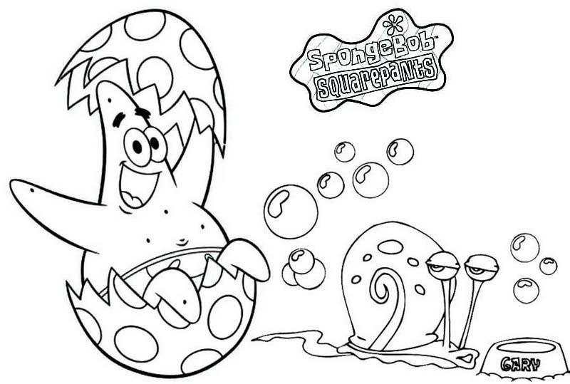Patrick and Gary Easter Day Coloring Page