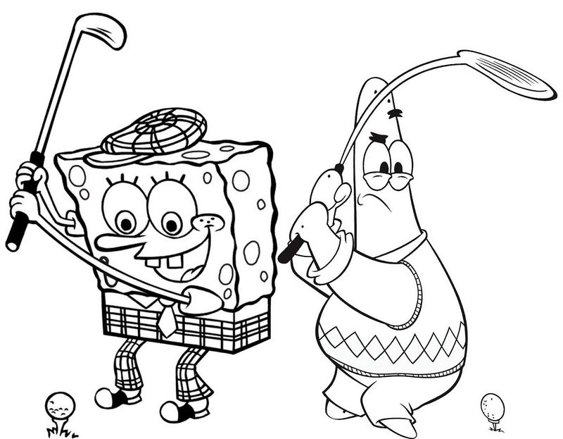 Patrick and Spongebob Golf Coloring Page
