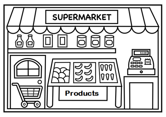 Shopping at Supermarket Coloring Page for Kids