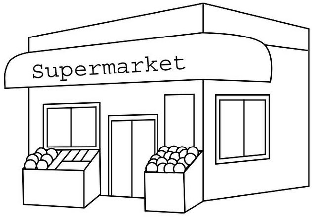 Supermarket Coloring Page for Children