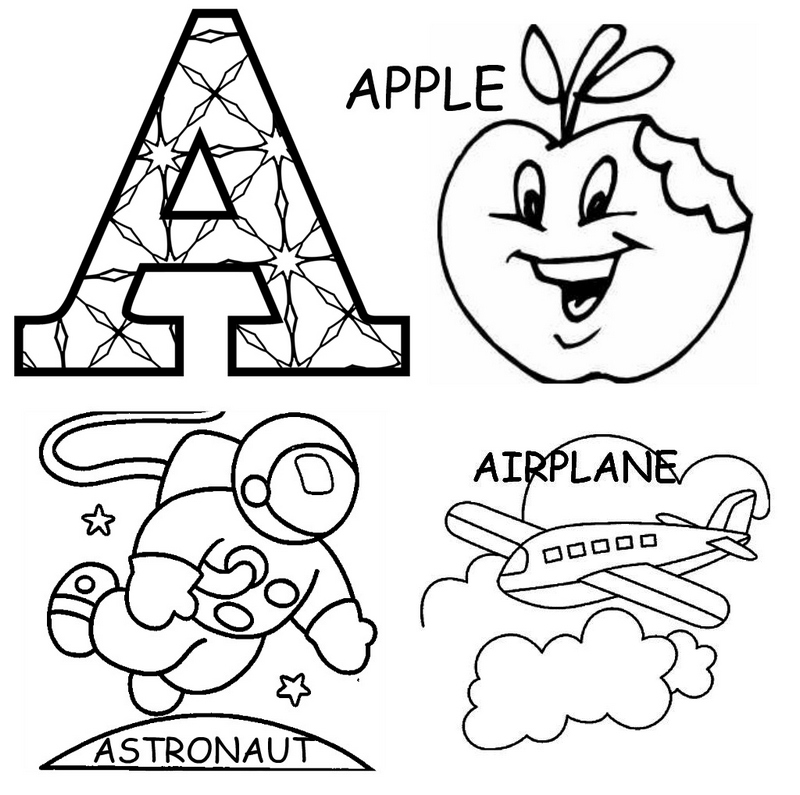 alphabet A coloring pages printable