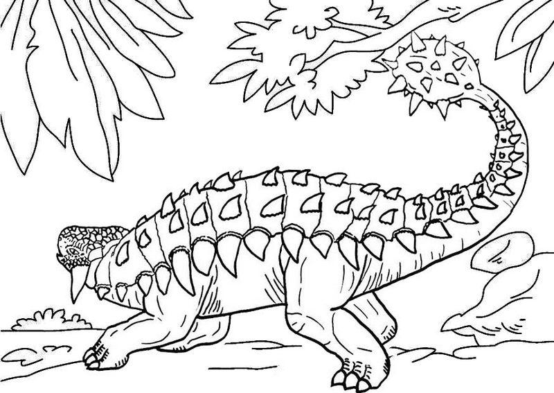 ankylosaurus armoured dinosaur coloring page
