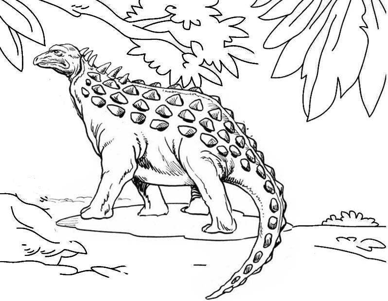 ankylosaurus habitat coloring page