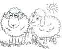 Seven Cute Sheep Cartoon Coloring Pages for Children