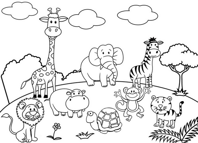 cute cartoon animal set zoo coloring and drawing page